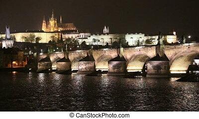 Charles Bridge at night. Prague
