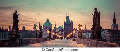Charles Bridge at sunrise, Prague, Czech Republic. Dramatic...