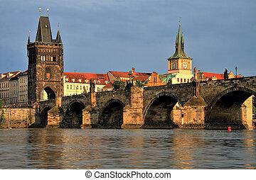 Charles Bridge at sunset, Prague