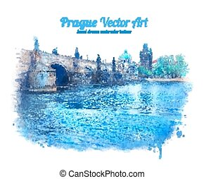 Charles bridge in Prague, Czech Republic. Vector art. EPS...