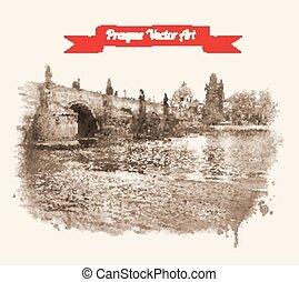 Charles bridge - Vintage postcard with Old Prague Charles...