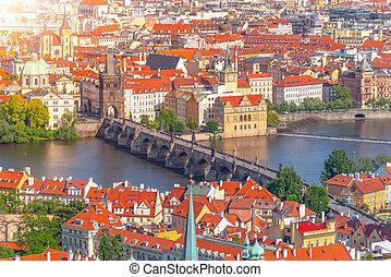 Charles Bridge, Czech: Karluv most, over Vltava River in Prague, Czech Republic.