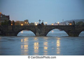 Flood - Charles Bridge - Flood in Prague, Czech Republic