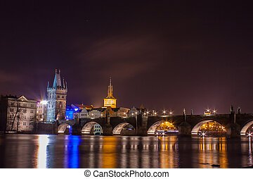 Charles bridge in night in Prague