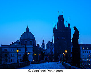 Charles Bridge in Prague before sunrise
