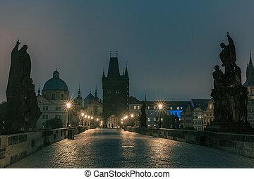 Charles Bridge in Prague, Czech Republic, at night lighting