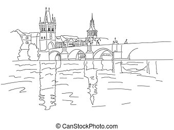 Charles Bridge in Prague. Sketch. Vector illustration.
