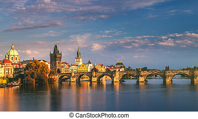 Charles Bridge in the Old Town of Prague, Czech Republic