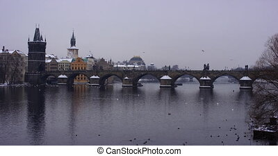 Charles Bridge in the Old Town, viewed from the Vlatva River, Prague slow motion
