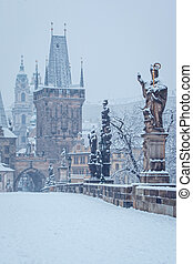 Charles bridge in winter, Prague