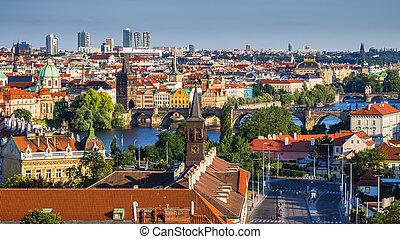 Charles Bridge (Karluv Most) and Lesser Town Tower, Prague, Czech Republic