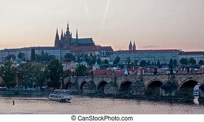 Charles Bridge over the River Vitava, Czech Republic at...