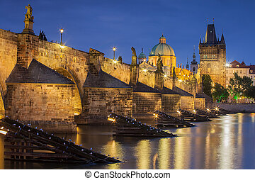 Czech Republic, Prague, Charles Bridge during twilight atmosphere