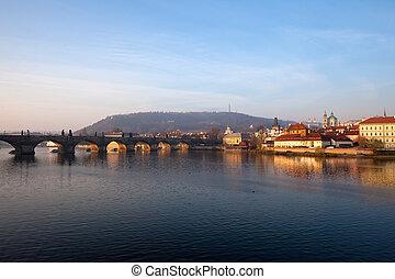 Charles bridge. Prague, Czech Republic - Evening view of...