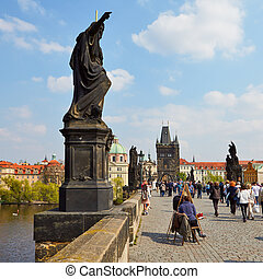 Charles Bridge, Prague - Prague, Czech Republic - April 23,...