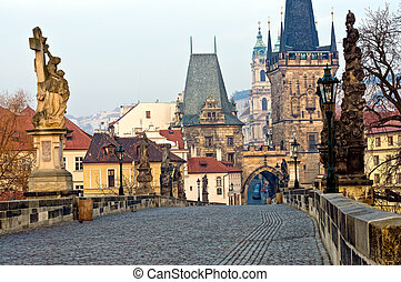 Charles Bridge Prague - View of the Lesser Town Bridge...