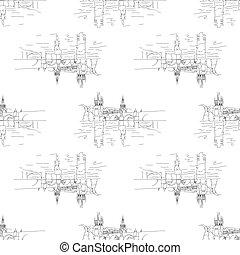 charles bridge seamless isolated on white background.