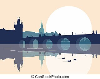 Charles bridge silhouette