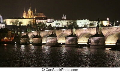 Charles Bridge (Stone Bridge, Prague Bridge) and St. Vitus...