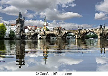 Charles Bridge with reflection in the morning