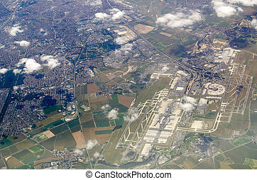 Charles de Gaulle airport, aerial view - Aerial view of...
