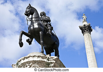 Charles I Statue and Nelson's Column in Trafalgar Square