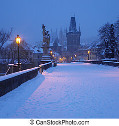 charles lient, dans, hiver, prague, république tchèque