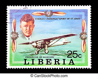 charles lindbergh - mail stamp printed in Liberia featuring...