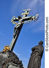 charles most, w, praga, krzyż, pomnik