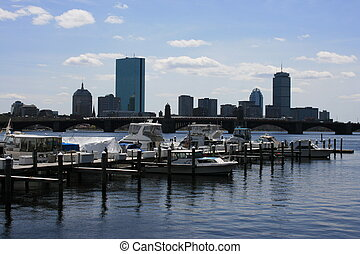 Charles - Boats docked on the Charles River, Boston. Back...