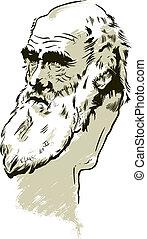 charles, portrait, darwin