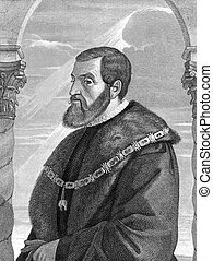 Charles V, Holy Roman Emperor (1500-1558) on engraving from...