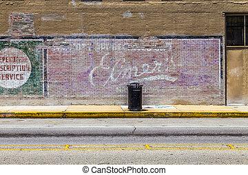 charles, viejo, usa., siglo, pared, 9, anuncios, estados...