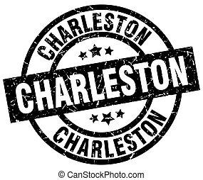Charleston black round grunge stamp