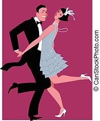 Young cartoon couple dressed in 1920s fashion dancing the Charleston, vector illustration, no transparencies, EPS 8