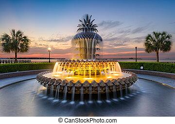 charleston, fontaine, ananas