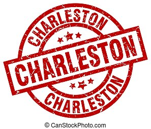 Charleston red round grunge stamp