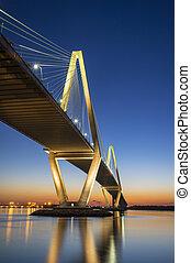 Charleston SC Arthur Ravenel Jr. Suspension Bridge over South Carolina Cooper River Sunset on spring evening