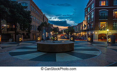 charleston sc streets in the evening