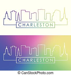 Charleston skyline. Colorful linear style.