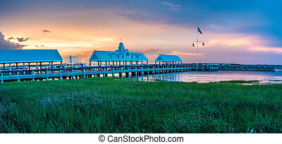 charleston south carolina harbor in the evening