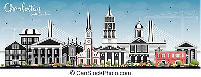 Charleston South Carolina Skyline with Gray Buildings and...