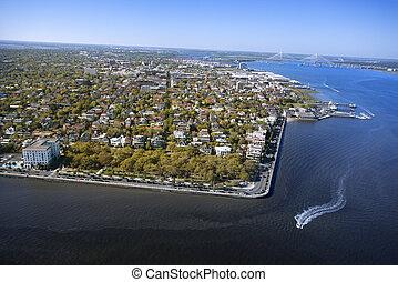 Charleston, South Carolina. - Aerial view of harbor and...