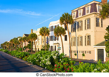 Charleston, South Carolina, USA homes along The Battery in ...