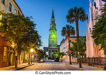 Charleston, South Carolina, USA view of the French Quarter at Twilight.