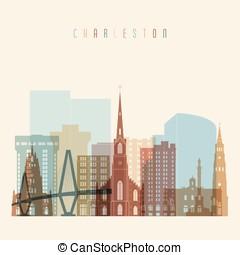 Charleston state South Carolina, skyline detailed silhouette. Transparent style.