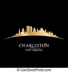 Charleston West Virginia city silhouette black background -...