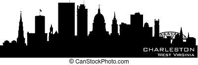 Charleston West Virginia city skyline vector silhouette -...