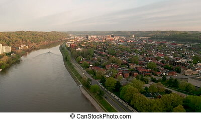 Charleston West Virginia State Capitol City Kanawha River -...