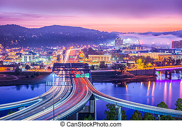 Charleston, West Virginia, USA skyline at dawn.